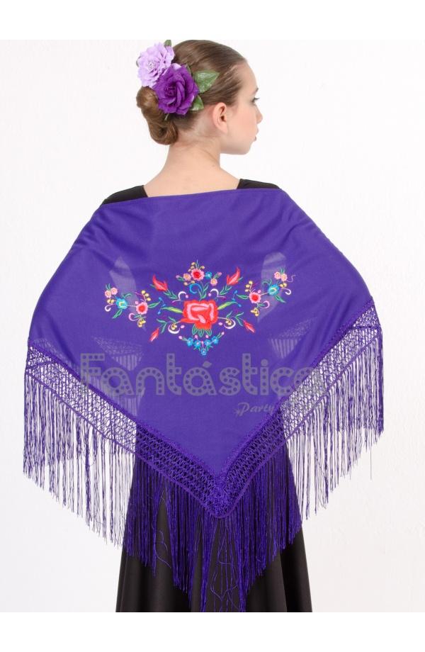 Mantón de Flamenca para Niña - Mantón Infantil Estampado Liso Color ...