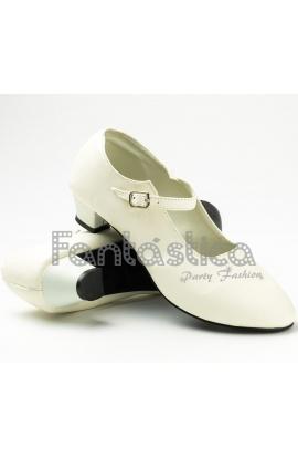 Zapatos andaluza liso - Blanco, Talla 42