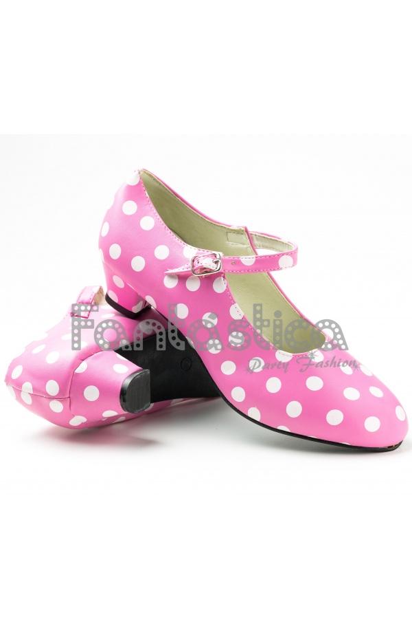 Zapatos para Flamenco Color Rosa y Lunares Blancos - Tallas para ...