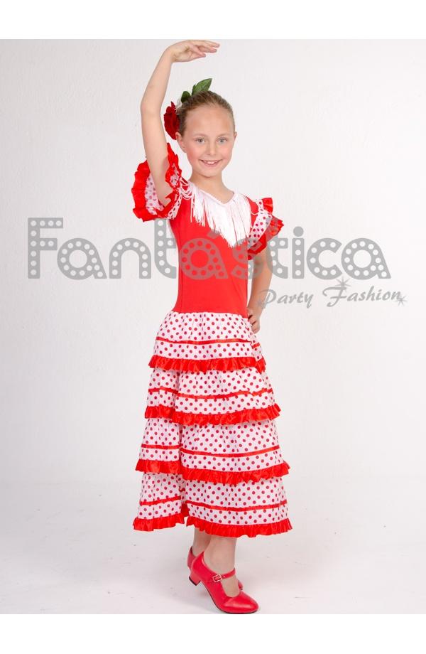 Vestido de Flamenca / Sevillana para Niña Color Rojo con Lunares II ...