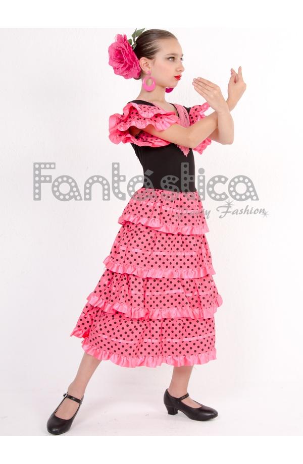 Vestido de Flamenca / Sevillana para Niña Color Fucsia con Lunares ...