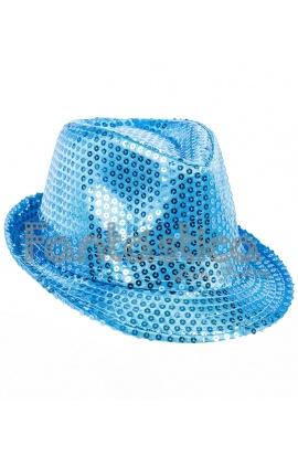 Sombrero de Fiesta para Disfraz con Lentejuelas Color Azul Claro 843d6430ab4