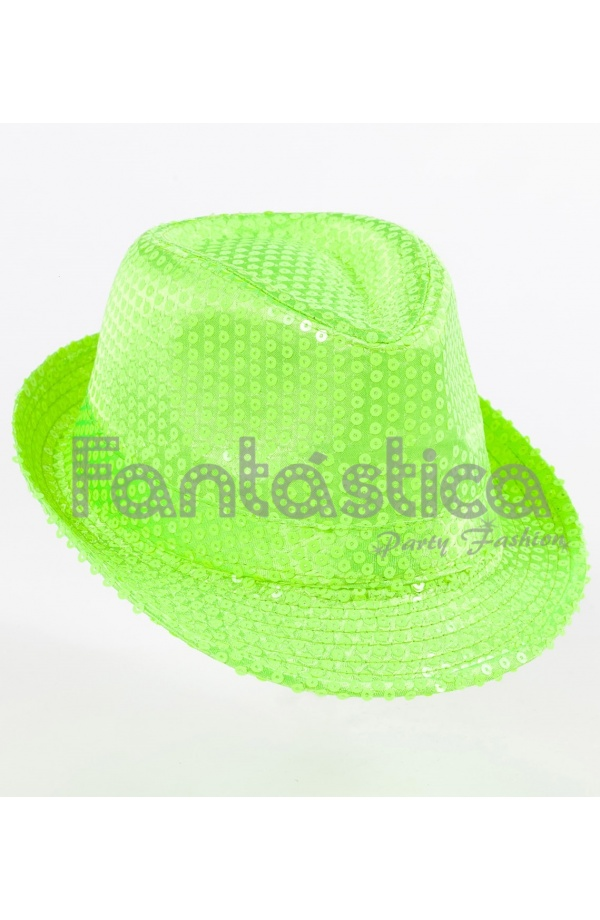 Sombrero de Fiesta para Disfraz con Lentejuelas Color Verde. edc1b9c9965