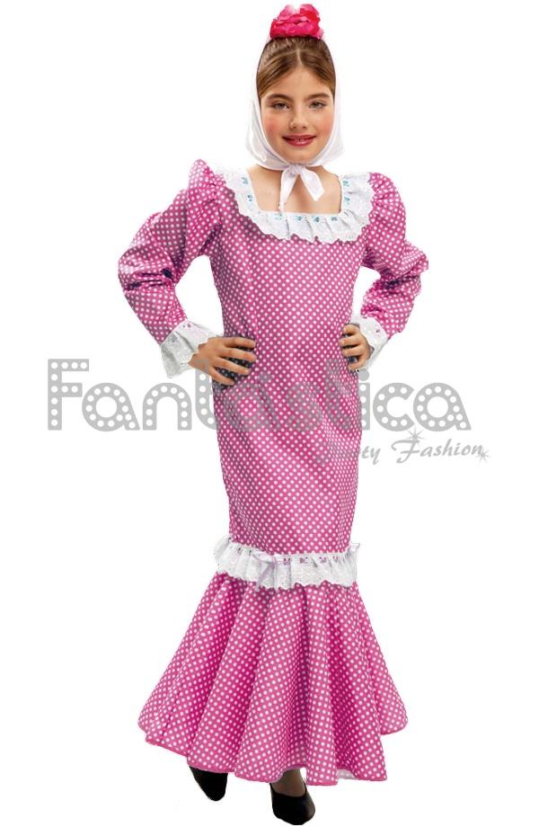 Vestido de Flamenca / Sevillana para Niña Color Negro y Rojo con ...