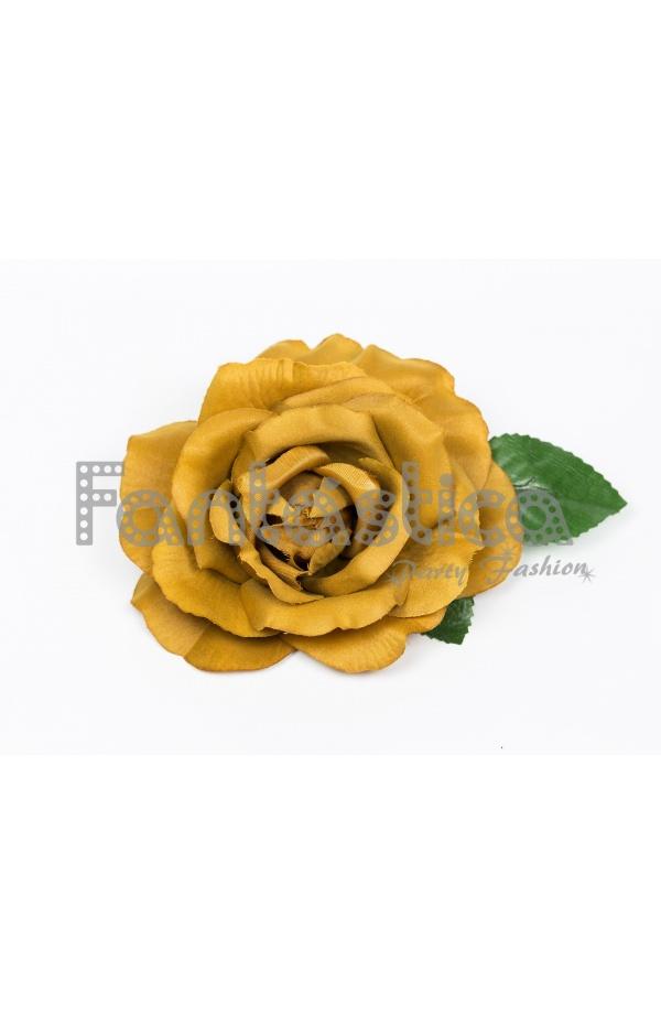 4b10b4c19a5b Flor para el Pelo Modelo Bella Flamenca Color Amarillo Mostaza ...