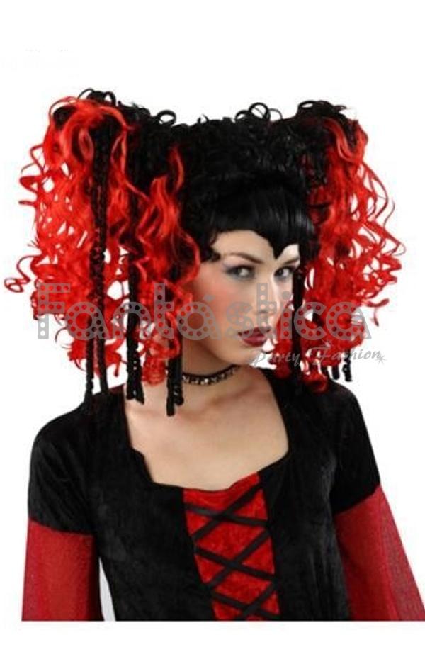 peluca para disfraz de diabla melena rizada roja y negra con coletas