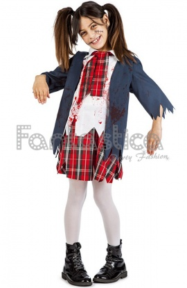 disfraz para nia colegiala zombie