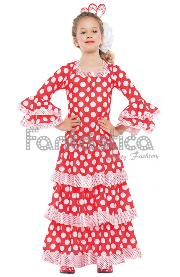 Vestido de Flamenca / Sevillana para Niña Color Amarillo con Lunares ...