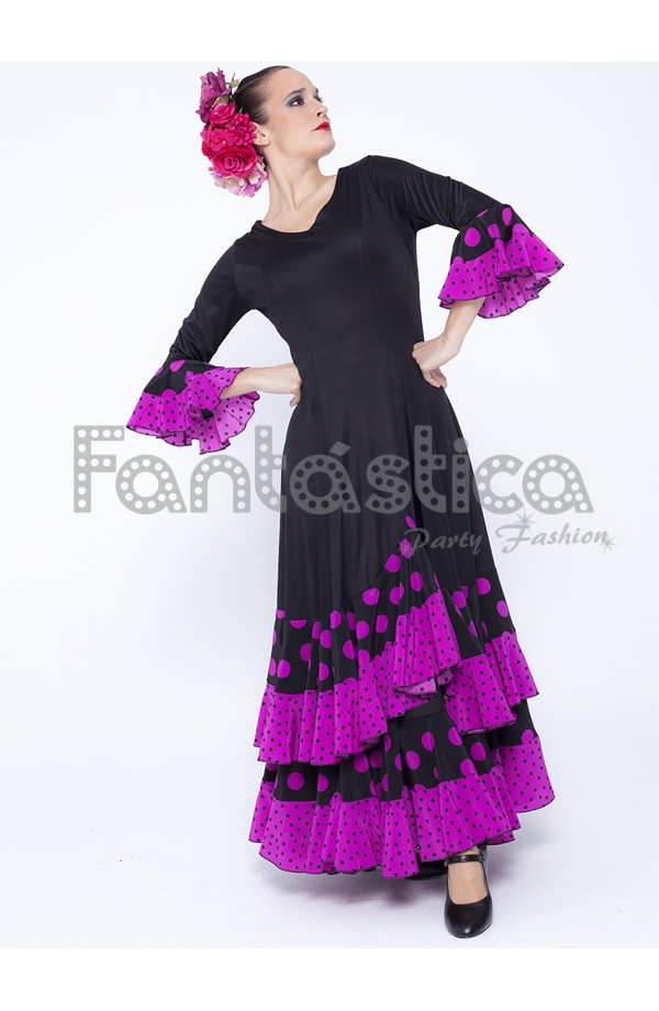 Vestido de Flamenca / Sevillana para Mujer Color Negro y Violeta con ...