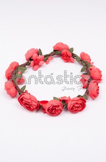 Corona de flores coral para el pelo diadema de flores - Diademas de flores para nina ...
