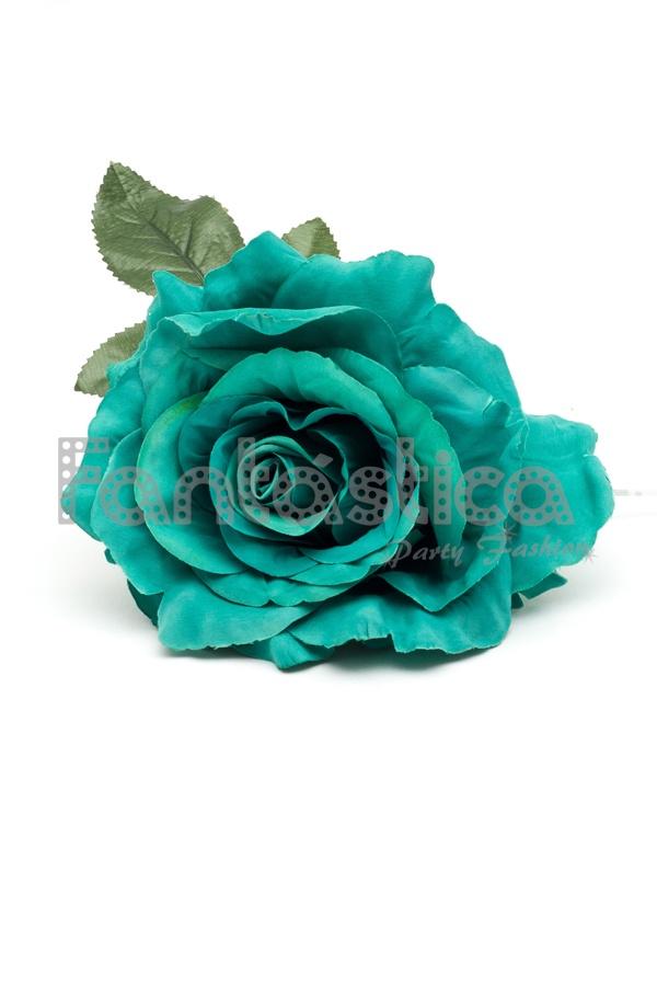 Flor para el Pelo Modelo Anabel Color Verde Agua - Tienda