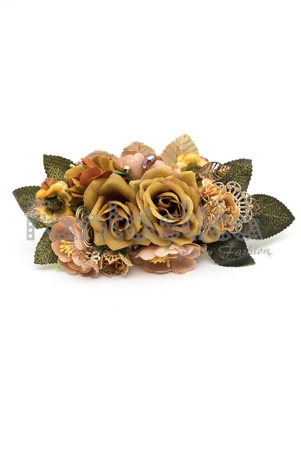 Tocado de Flores para el Pelo o Sombrero Modelo Diana Color Amarillo ...