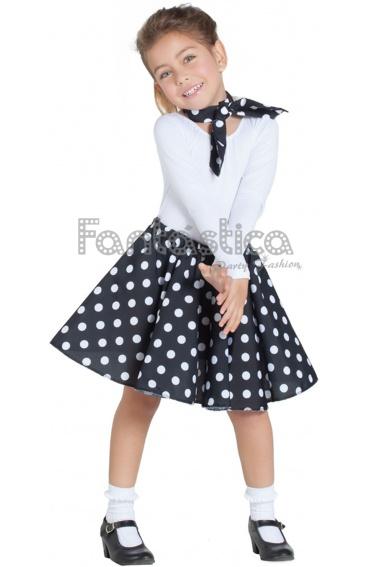 Disfraz para Niña Falda y Pañuelo Negro años 50