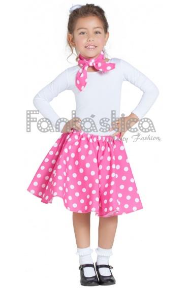 Disfraz para Niña Falda y Pañuelo Rosa Fucsia años 50