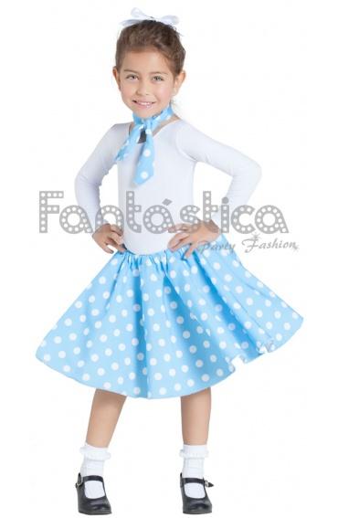 Disfraz para Niña Falda y Pañuelo Azul Turquesa años 50