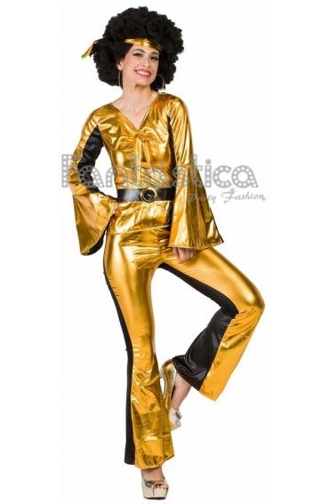 Disfraz para Mujer Chica Disco Dorado Años 70