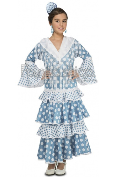 Disfraz para Niña Bailaora de Flamenco y Sevillanas Celeste