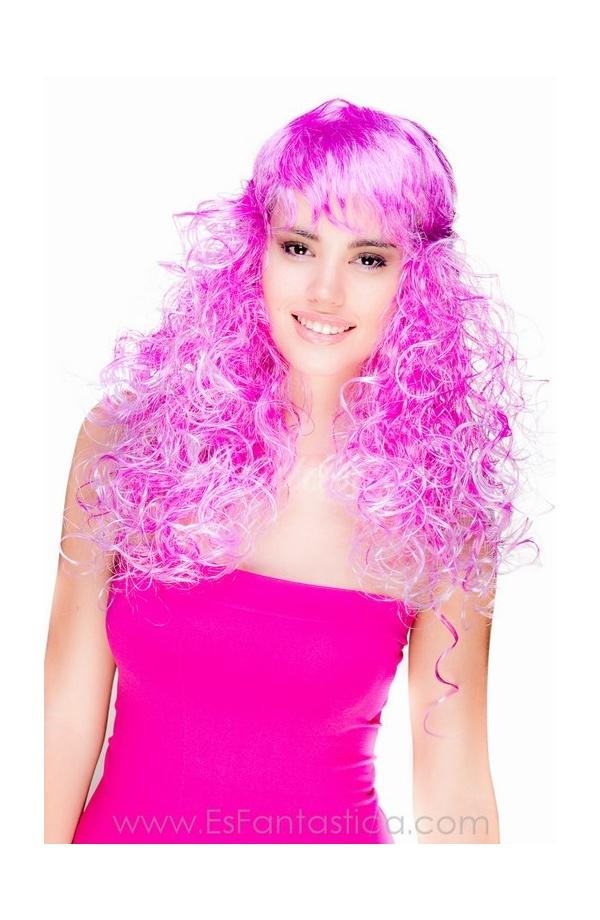 Peluca para Disfraz Larga Rizada en color Morado Violeta-Blanco ...