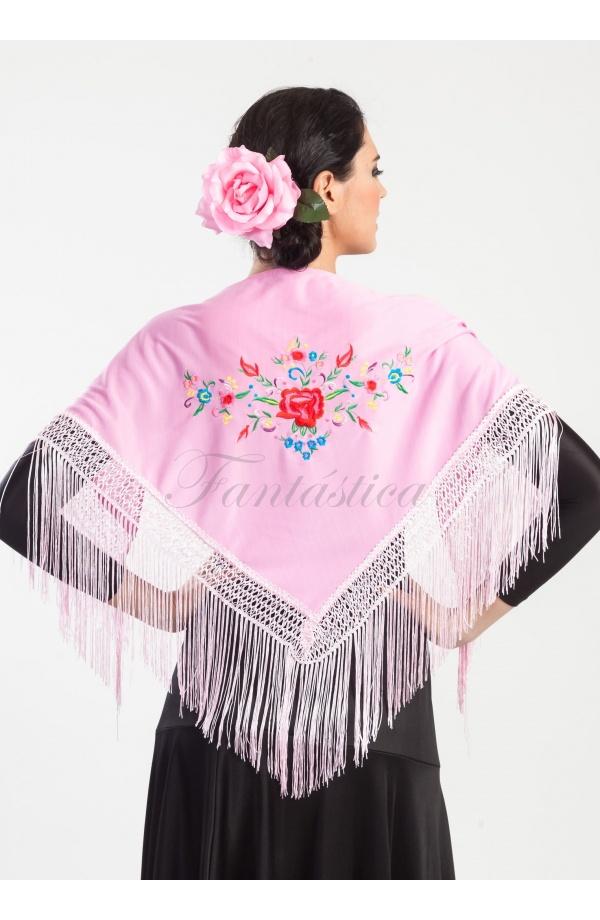 Mantón de Flamenca para Niña - Mantón Infantil Bordado con Flores ...
