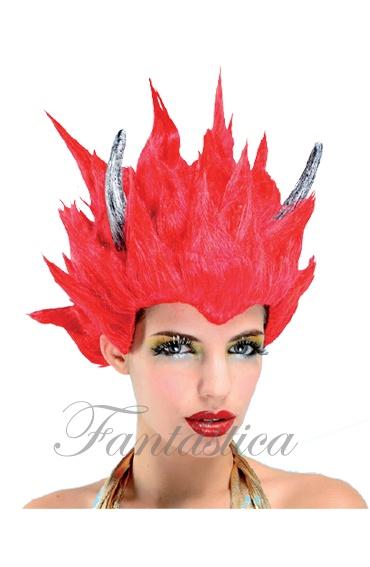 peluca para disfraz de diabla corta lisa roja con cuernos