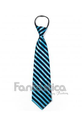 133ed6817 Corbata Unisex para Fiesta con Cremallera Estampado Rayas Azul Turquesa y  Negro