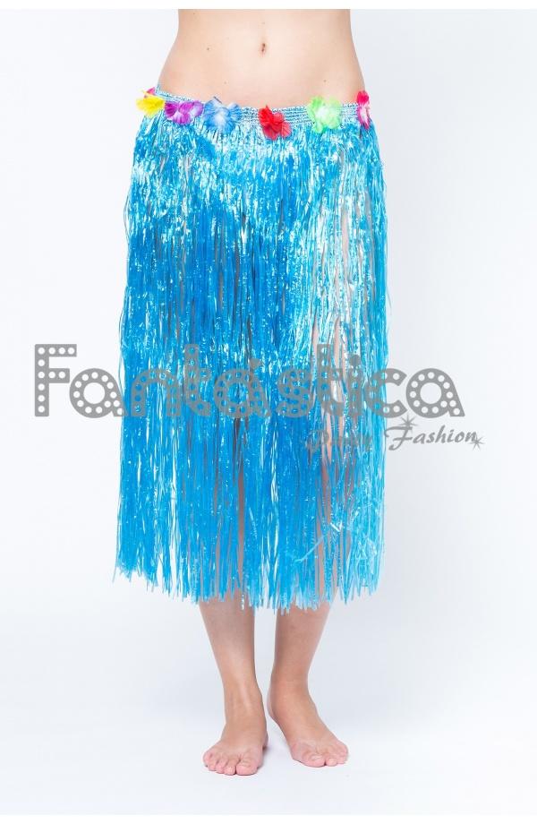2346022340 Falda Larga Hawaiana para Niña o Mujer - Falda Hawaiana Azul Turquesa