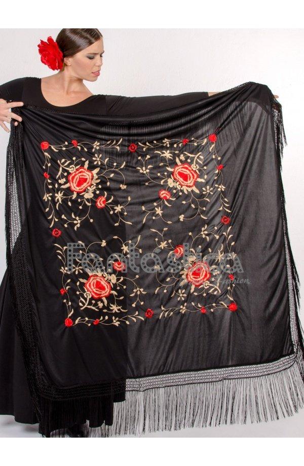cb8a798a1b769 Elegante Mantón de Flamenca Cuadrado para Mujer - Mantón de Manila Cuadrado  para Mujer color Negro