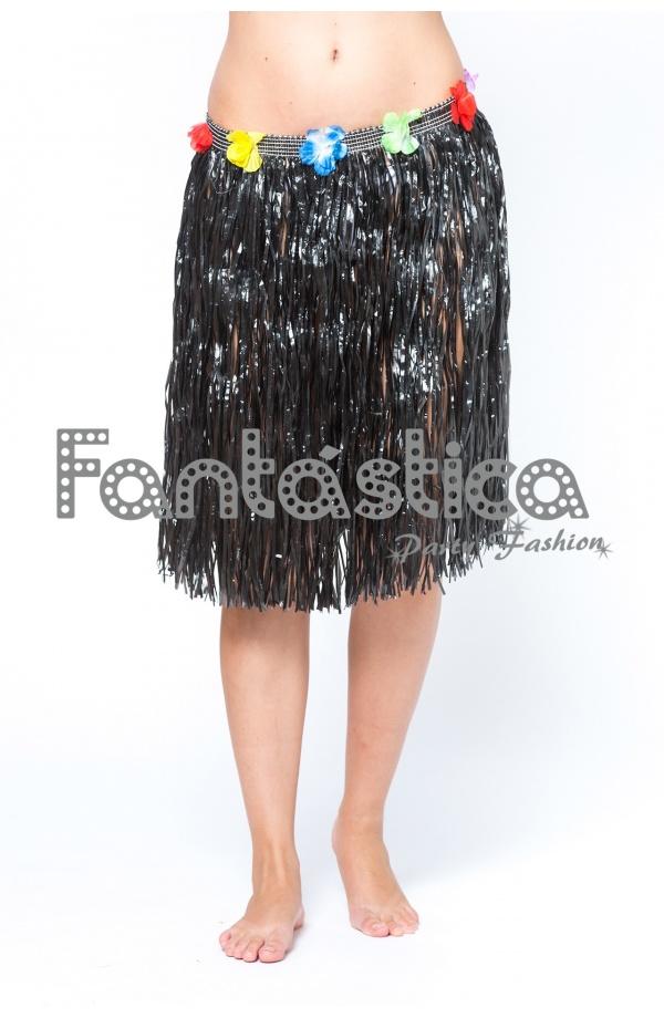 e7f12ffebf Falda Hawaiana para Niña y Mujer color negro. Falda Hawaiana ideal para  disfraces