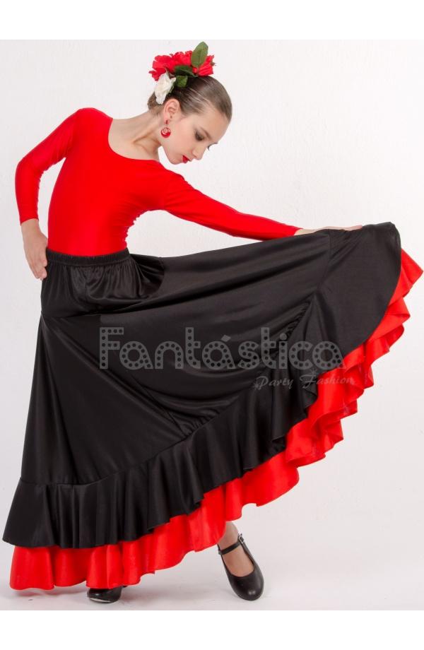 5732cba07 Falda de Flamenca / Sevillana con Volantes para Niña y Mujer Color Negro y  Roja Lisa