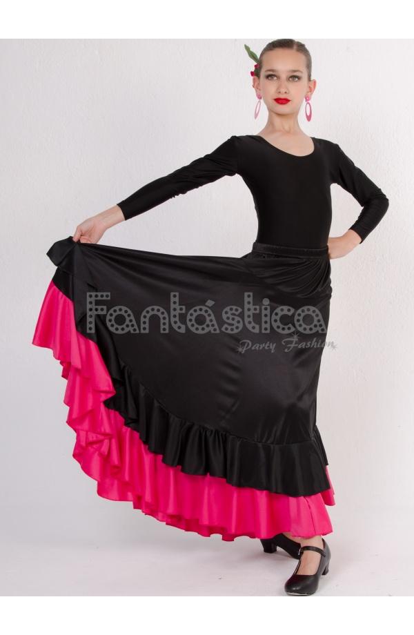 16506e4bf Falda de Flamenca / Sevillana con Volantes para Niña y Mujer Color Negro y  Fucsia Lisa