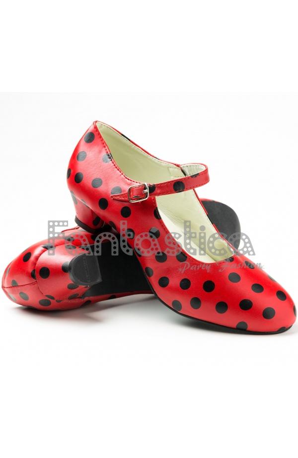 Para Mujer Lunares Flamenco Y Color Niña Rojo Zapatos Negros Tallas OPkXuZiTlw