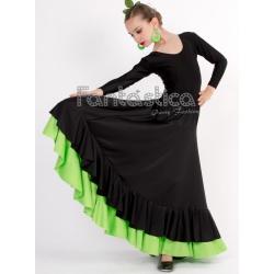 eaed57fa5 Falda de Flamenca / Sevillana con Volantes para Niña y Mujer Color Negro y  Verde Lisa