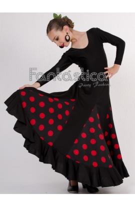 0b877d41c2 ... Falda de Flamenca   Sevillana con Volantes para Niña y Mujer Color  Negro Lunares Rojos. . Previous Next