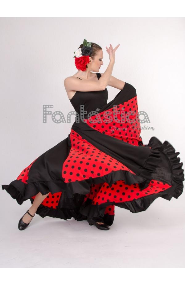 Vestido de Flamenca   Sevillana para Niña y Mujer Color Negro y Rojo con  Lunares 4b1658dd233