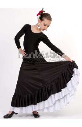 628c294f15 Falda de Flamenca   Sevillana con Volantes para Niña y Mujer Color Negro y  Blanco Lisa