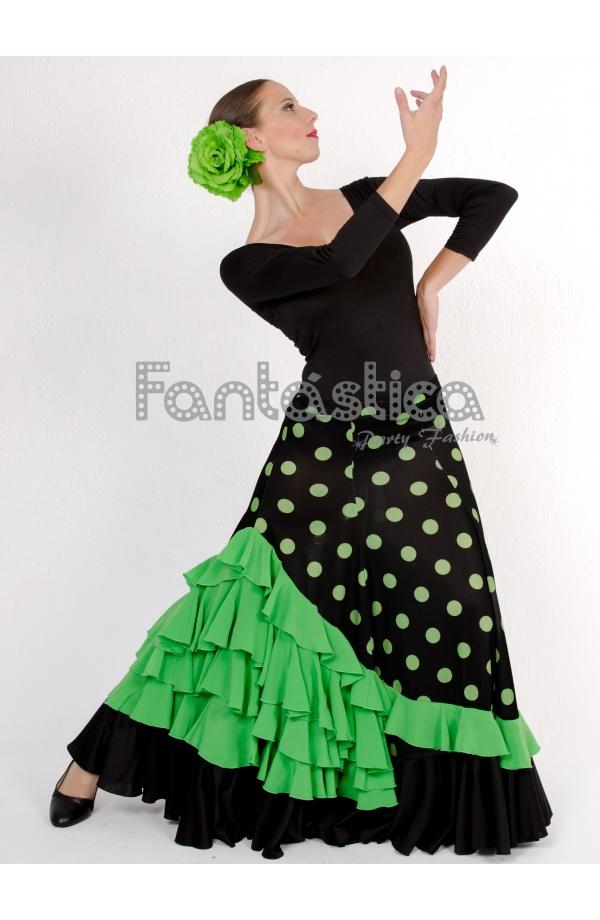 a67706086 Falda de Flamenca / Sevillana para Mujer con Volantes y Lunares Verde y  Negro