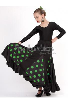 ecf8c42291 Falda de Flamenca   Sevillana con Volantes para Niña y Mujer Color Negro  Lunares Verdes