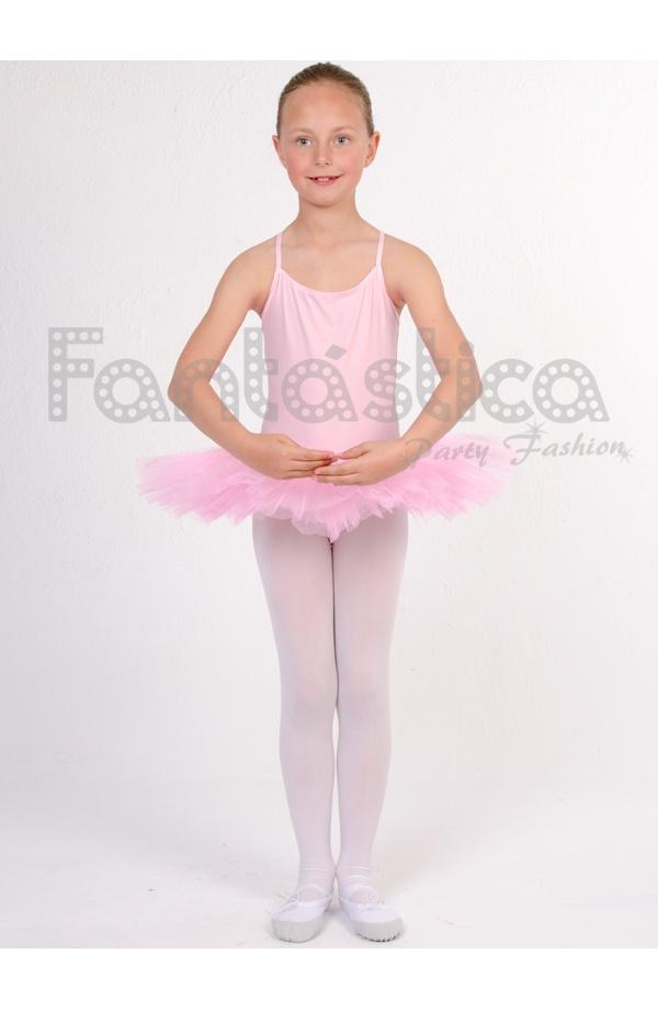 Maillot con Falda Tutú de Danza   Gimnasia para Niña Tirante Fino Color Rosa bbcf3a14399c
