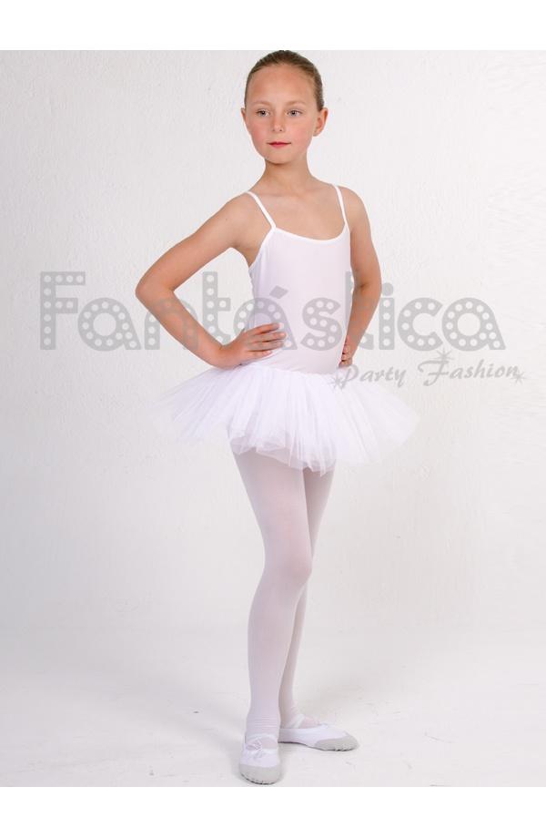 eb7aee63 Maillot con Falda Tutú de Danza / Gimnasia para Niña Tirante Fino Color  Blanco
