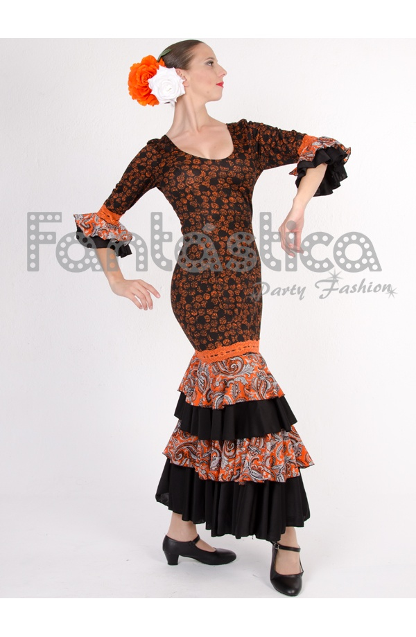 9788a03bf4ae Beautiful and cool Paisley Style Flamenco and Sevillanas Dress for Woman.  Paisley Style Black and Orange Dress. Ideal to transform into a Spanish  dancer, ...