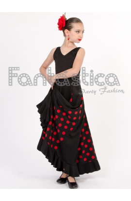 0e982d581 ... Vestido de Flamenca   Sevillana para Niña y Mujer Color Negro y Rojo  con Lunares II. . Previous Next