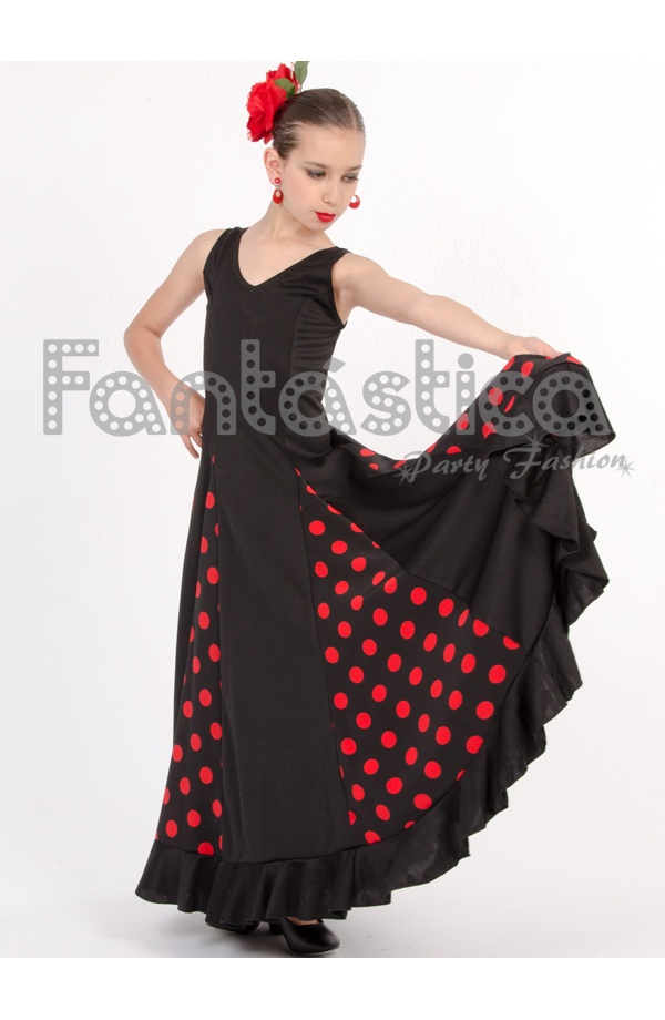Flamenco And Sevillana Dress For Girl And Woman Black Dress With Red Polka Dots Ii