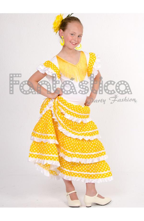 c94b3f7690 Vestido de Flamenca   Sevillana para Niña Color Amarillo con Lunares