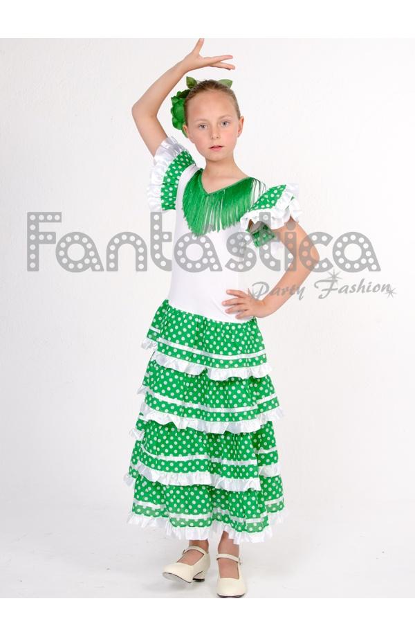 Vestido de Flamenca   Sevillana para Niña Color Verde con Lunares a4b8d1f7e60