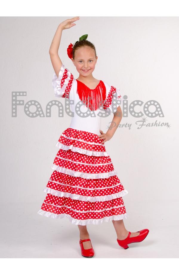 551d81bf2 Vestido de Flamenca / Sevillana para Niña Color Rojo con Lunares