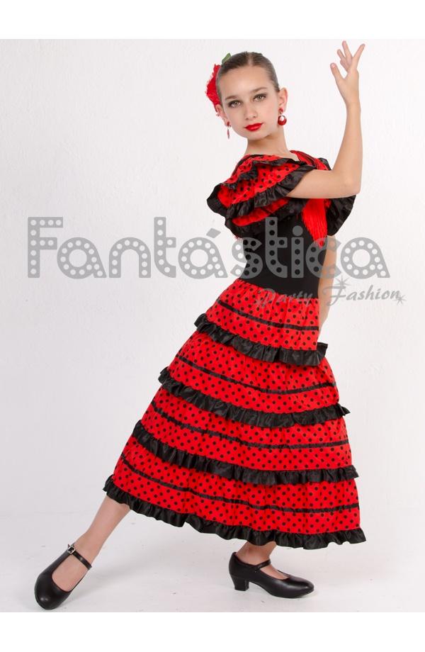 e5c825791 Vestido de Flamenca   Sevillana para Niña Color Negro y Rojo con Lunares