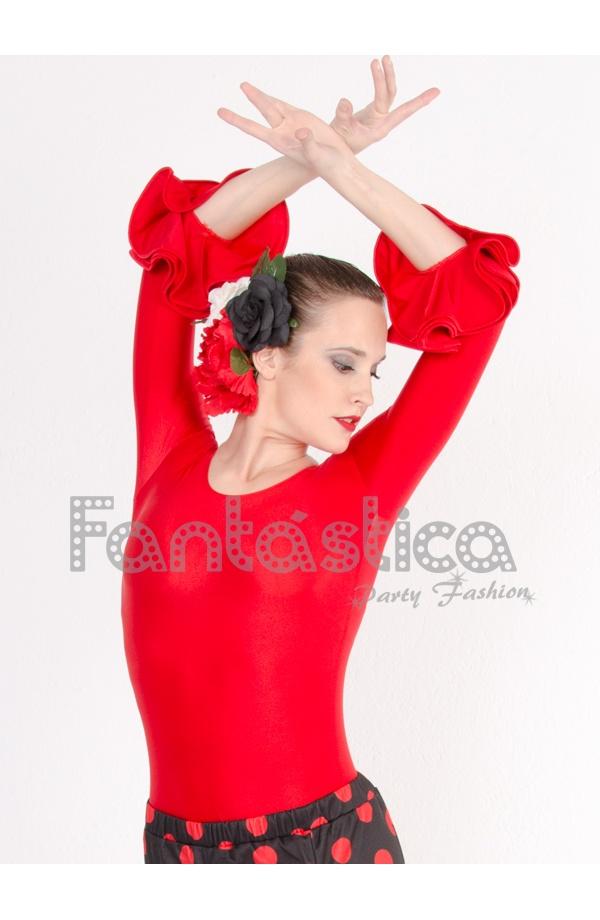 6bcb333c Precioso Maillot para Mujer, para danza española y flamenco. Mangas con  volantes en color Rojo. Leotardo de flamenco y danza española, color rojo,  ...