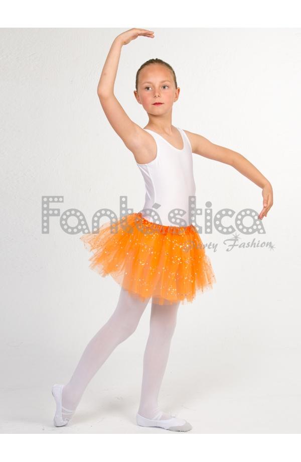 b1056bc4ff Tutú para Ballet y Danza - Falda de Tul para Niña y Mujer Color Naranja con Brillantitos  Strass