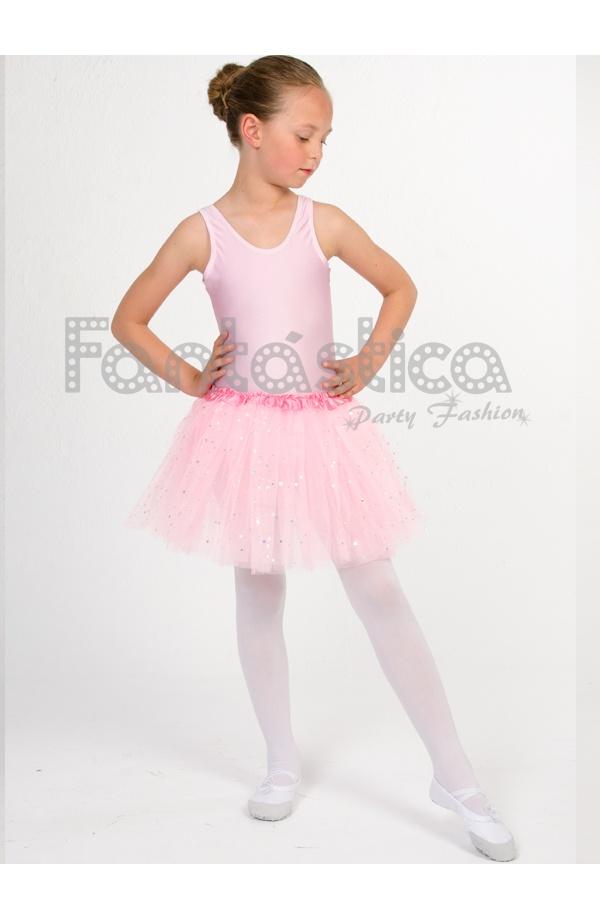c242d111eb Tutú para Ballet y Danza - Falda de Tul para Niña y Mujer Color Rosa con Brillantitos  Strass