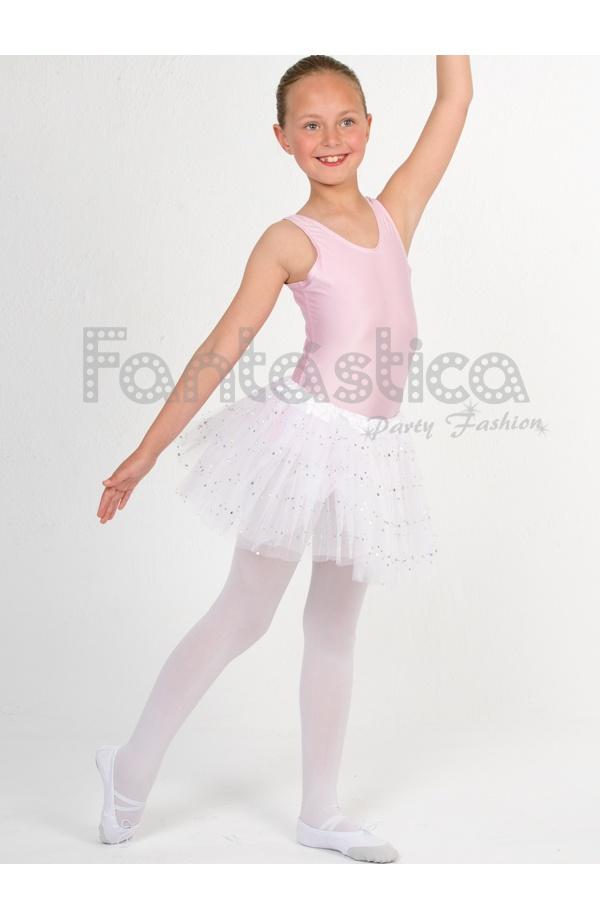 1da3a53982 Tutú para Ballet y Danza - Falda de Tul para Niña y Mujer Color Blanco con Brillantitos  Strass